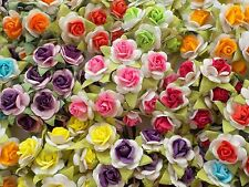 100! Lovely Mulberry Paper Roses - 10/15mm - Gorgeous 2-Tone Colour Rose Mix!
