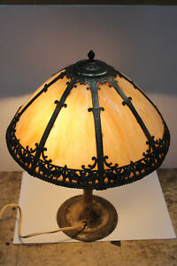 Antique Brass Duffner & Kimberly Lamp Stained Glass Vintage Night Stand Tiffany