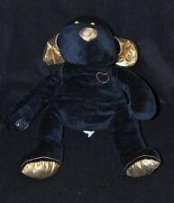 Peluche doudou chien DOUGLAS noir & doré coeur brodé 24 cm assis TTBE