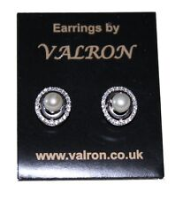 Silver Pearl Stud Earring With Oval Cubic Zirconia and Sterling Silver Setting