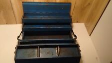 """vintage mechanic's steel toolbox industrial cantilever foldout 4 trays 18"""" X 8"""""""