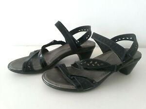 NAOT sandals, BLACK LEATHER, medium heel, hook & loop closure, size 40