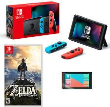 NEW Nintendo Switch Neon Bundle Zelda: Breath of the Wild + Screen Protector