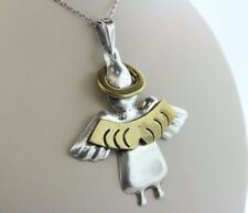 Mexico 925 Sterling Silver Angel with Brass Wings and Halo Pendant
