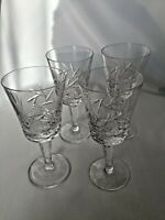 """Four Vintage Etched Hobstar Cut Crystal Sherry Cordials 5 5/8"""""""
