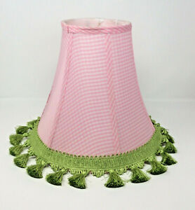 "Pottery Barn Kids Pink Gingham Fabric 12"" Bell Lamp Shade Green Custom Trim"