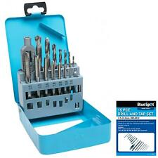 BlueSpot 15pc Tap and Drill Bit Set Metric M3 - M12 Drills Thread Cutter