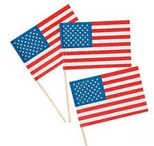 144 Pcs Patriotic Pride 4th of July Parade American Flags on Wooden Sticks