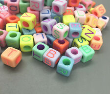 DIY 100pcs Mixed-color Cubic Acrylic Letter/ Alphabet Spacer Beads 9 x 9mm