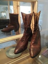 Victorian Boots Ladies High-Top Lace-Up Brown Leather Antique 9 ""