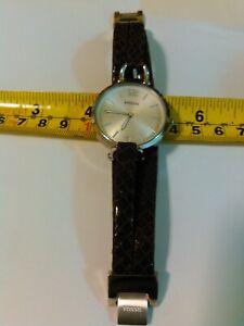 FOSSI ES3155 Georgia Silver Dial Brown Snake Print Leather Ladies Watch New Batt