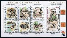 Gibraltar 2001 MNH SS, Snakes, Reptiles, Eggs, Hong Kong Stamp Exhibition