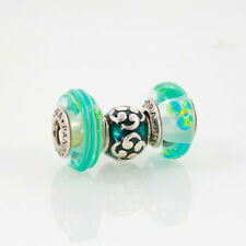 Pandora Lampwork Beads and Sterling Silver Charm, Lot of Three, Aqua/Teal