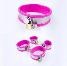 kit toy collare polsini cavigliere in metallo egomma rosa sex mistress e slave x