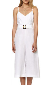 Bec Bridge Lily Linen White Belted Jumpsuit Size 6