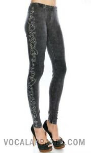 VOCAL Womens CRYSTAL GRAY MINERAL WASHED SWIRL USA BLING LEGGINGS PANTS S M L XL
