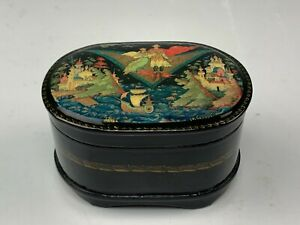 Signed Russian Palekh Hand Painted Lacquer Music Box