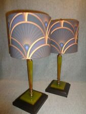"""Decor Splendor"" Art Deco Green Bakelite Lamps (pair) w/Designer Fabric Shades"