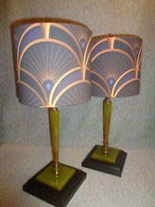 """""""Decor Splendor"""" Art Deco Green Bakelite Lamps (pair)"""