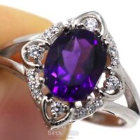 Antique Natural Amethyst Ring Women Wedding Jewelry Gift 14K White Gold Plated
