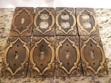 (8) Vintage Brass Light Switch Plates & Outlet Covers + All 13 Brass Screws