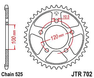 Corona JT 702 de acero con 44 dientes