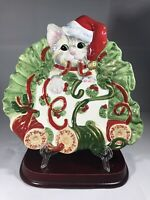 Vintage FITZ & FLOYD ESSENTIALS KITTY KRINGLE CANAPE WALL PLATE CHRISTMAS EXC!