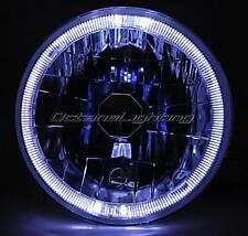 "7"" Halogen Sw H4 Headlight Headlamp White LED Halo Angel Eyes Light Bulb 12 Volt"