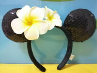 New Disney Aulani Ko Hawaii Black Minnie Mickey Ears Plumeria Flower Headband