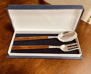 """Hammered Sterling Silver/ wood Salad Spoon And Fork Serving Pieces In Box 12"""""""