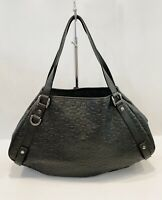 Gucci Abbey Horsebit Monogram Leather Hobo Bag Black Handbag