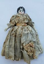 "Antique 7"" China Doll Black Hair"