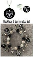 Oakland Raiders necklace, earrings and bracelet set