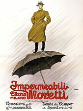 ADVERTISING UMBRELLA MORETTI MILAN ITALY RAIN ART POSTER PRINT LV1328
