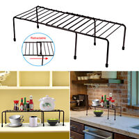 Expandable Kitchen Counter Cabinet Shelf Organizer Rack Storage Countertop Bowls
