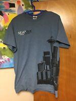 Seattle Washington Skyline T-shirt Medium Blue Space Needle 50/50 Ultra Cotton