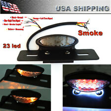 12V Smoke 14LED Motorcycle Brake Tail Turn Signal License Plate Integrated Light