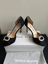 NIB $755 Manolo Blahnik Sedarby Satin D'Orsay Pumps Black Size 7.5