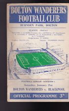 Bolton Wanderers v Blackpool Official Programme January 21 1961