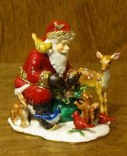 Kubla Crafts Jeweled Trinket Box #KC3758 SANTA w/ ANIMALS, NIB From Retail Shop