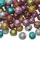100 Rose Shaped 8mm Round Plastic Metallic Coated Acrylic Rosebud Flower Beads