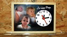 Horloge de bureau style ardoise d'écolier personnalisée 3 photos de votre choix
