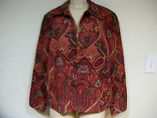 coldwater creek women's ladies fall spring winter estate paisley jacket size XL