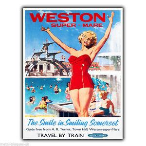 Weston-super-Mare Somerset Vintage Retro Advert METAL WALL SIGN PLAQUE poster
