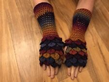 HandCrochet Dragon Gloves LONG-Metallic Purple/Orange Glitter Game of Thrones