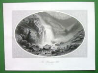 GERMANY Tyrol Oetzthal Heinlach Falls - Antique Print Engraving