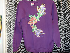 "HANES HER WAY ""Purple w/Flowers on Front Sweatshirt"" Raglan From Neck Size Large"