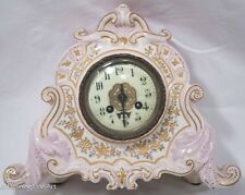 "Antique ""L. Marti"" Porcelain Royal Bonn French Clock, Excellent Condition, Pink"
