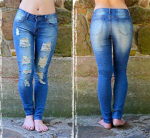Juniors Stretchy Skinny Distressed Denim Jeans (Style#Denim-002) Size 11