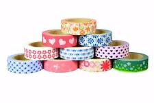 Crafty Rolls Set of 10 Different Washi Tape Peace Love Flowers Valenties